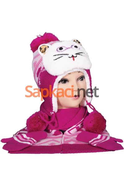 Gözlüklü Kedi Fuşya Bebek Takım