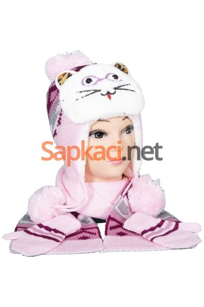 Gözlüklü Kedi Pembe Bebek Takım