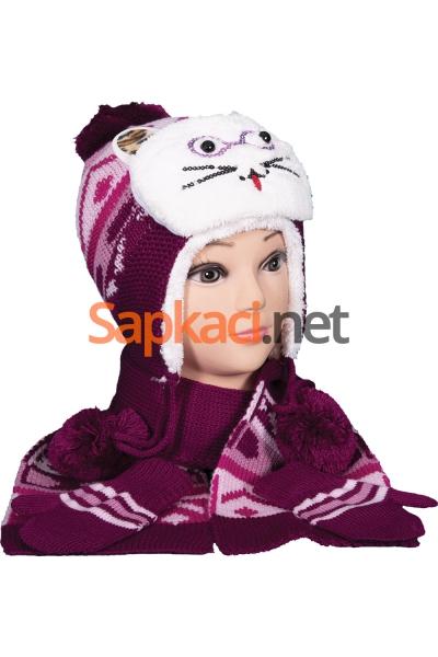 Gözlüklü Kedi Vişne Bebek Takım