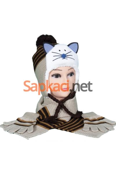 Kedili Kahve Çocuk Takım