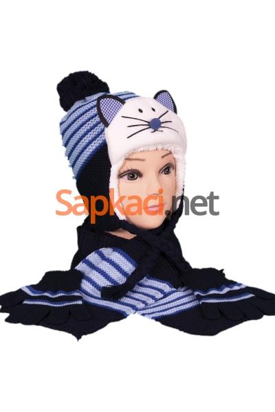 Kedili Lacivert Çocuk Takım