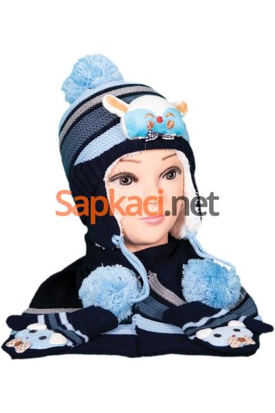 Maymun Desenli Mavi Bebek Takım