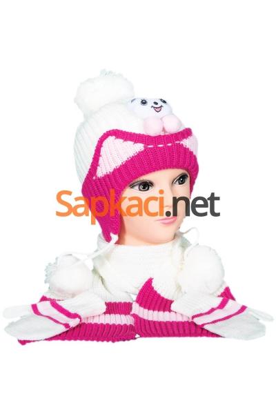 Minik Ayı Desenli Ekru Bebek Takım