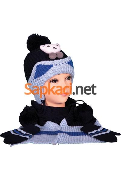 Minik Ayı Desenli Lacivert Bebek Takım