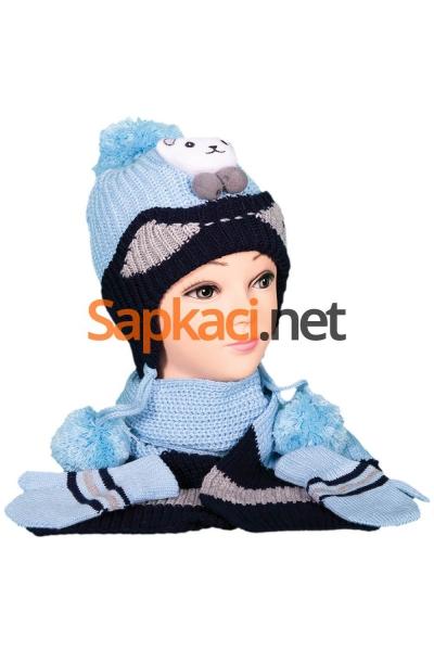 Minik Ayı Desenli Mavi Bebek Takım