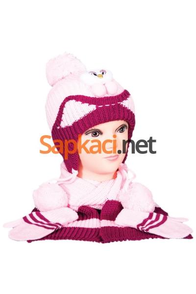 Minik Ayı Desenli Pembe Bebek Takım