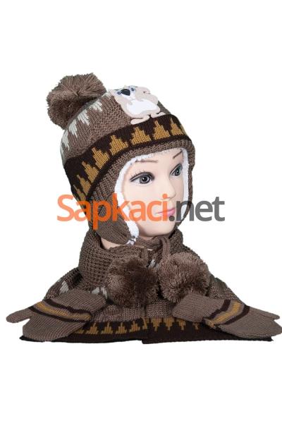 Sincap Desenli Kahve Bebek Takım