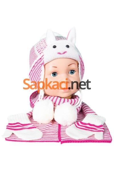 Tavşan Desenli Ekru Bebek Takım