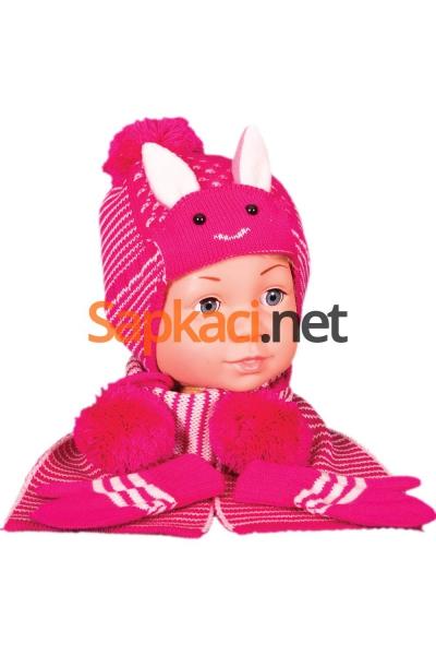 Tavşan Desenli Fuşya Bebek Takım
