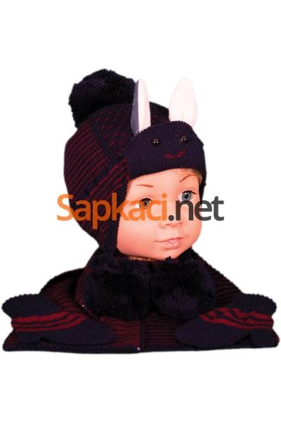 Tavşan Desenli Lacivert Bebek Takım