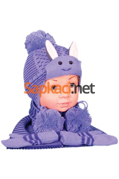 Tavşan Desenli Mavi Bebek Takım