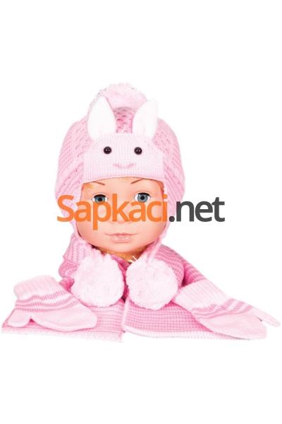 Tavşan Desenli Pembe Bebek Takım