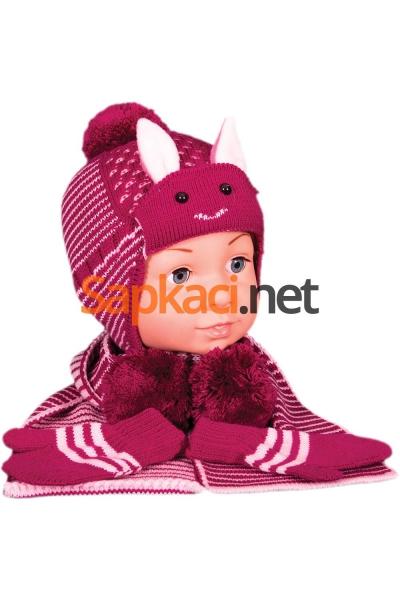 Tavşan Desenli Vişne Bebek Takım