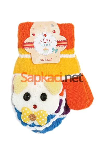 Turuncu Kız Maskotlu Bebek Eldiven
