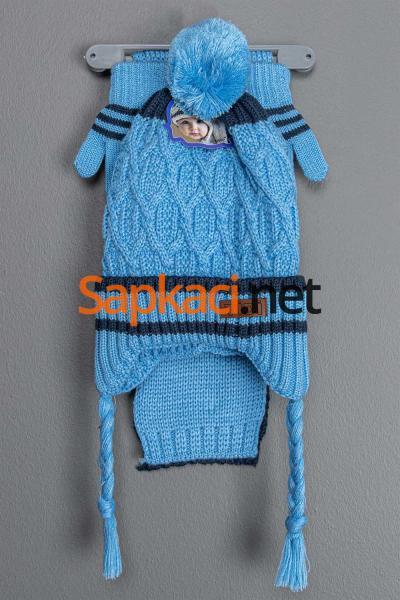 Çiçekli Mavi Bebek Takım