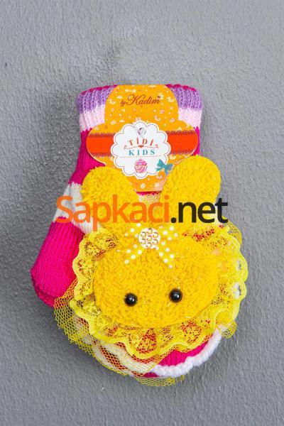 Maskotlu Fuşya Sarı Bebek Eldiven