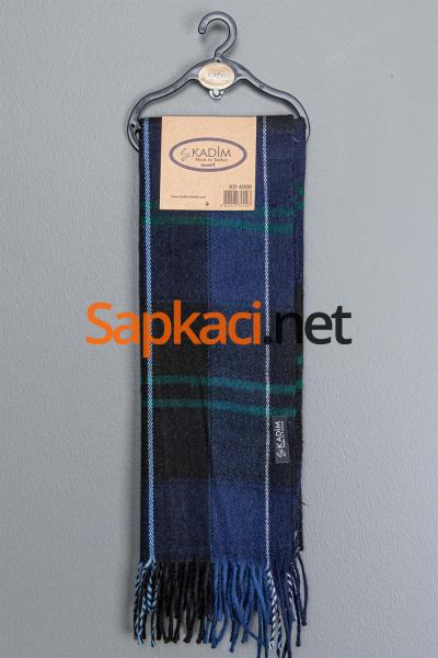 Lacivert Yeşil Kareli Dokuma Atkı