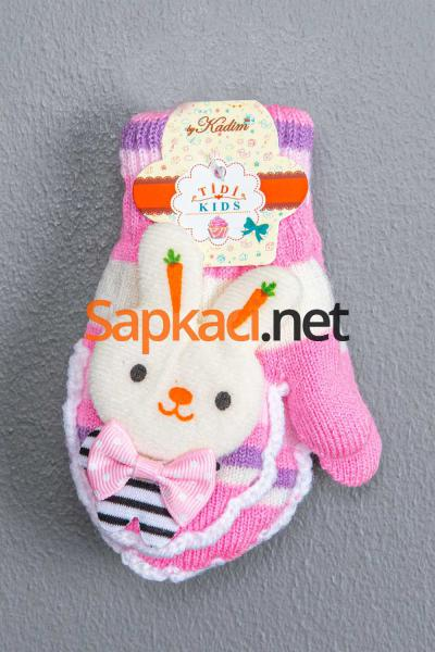 Maskotlu Pembe Kız Bebek Eldiven