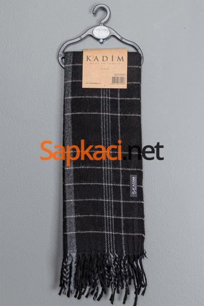 Siyah Gri Kareli Dokuma Atkı