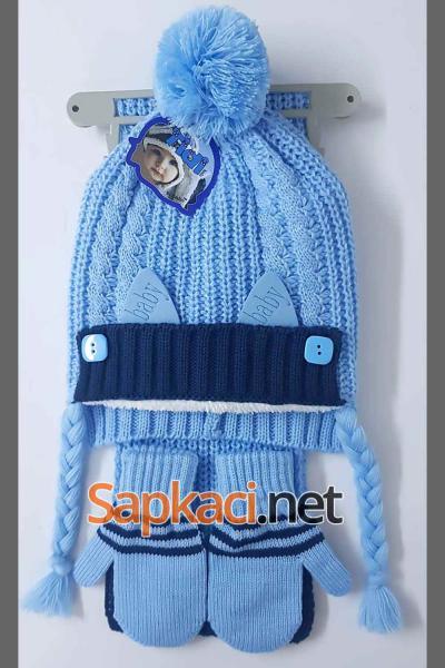 Hugo Düğmeli Mavi Bebek Takım